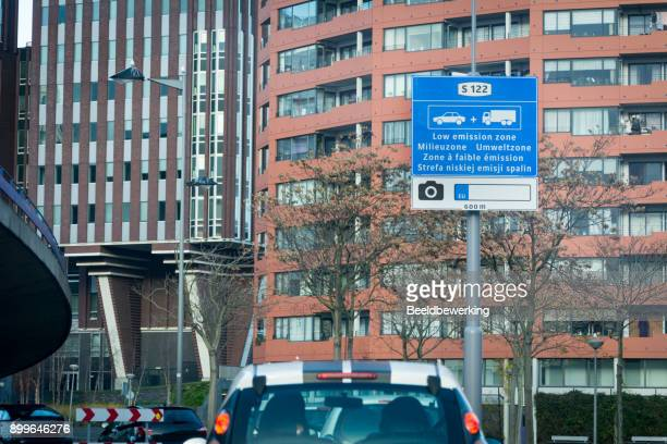 Warning sign entering low emission zone city of Rotterdam