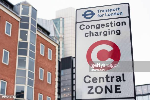 Warning sign for central London Congestion Charging zone