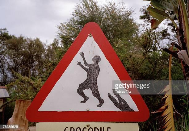 Warning sign for crocodiles