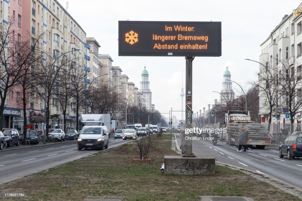 Electronic traffic signs in Berlin : News Photo
