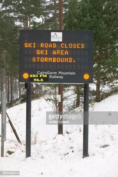 Warning Sign for Ski Area