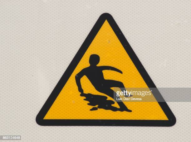 Warning sign for slippery surface