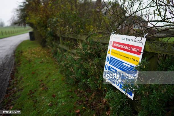 Warning sign hangs from a fence at a farm near Northallerton after an outbreak of Avian flu was confirmed at a commercial turkey fattening farm on...
