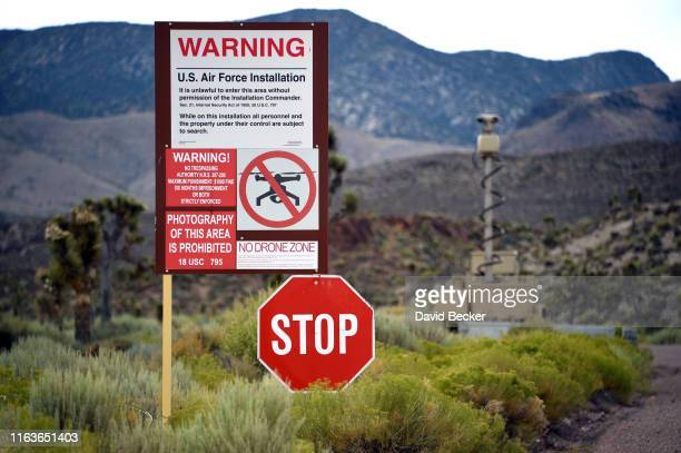 A warning sign is posted at the perimeter of the topsecret military installation at the Nevada Test and Training Range commonly known as Area 51 on...