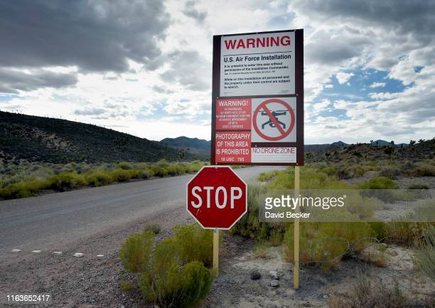 A warning sign is posted at the perimeter of the topsecret military installation at the Nevada Test and Training Range known as Area 51 on July 22...