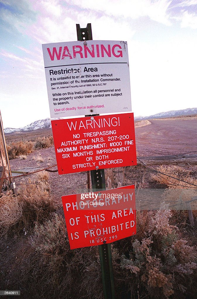 A warning sign marks the boundary of Area 51, March 12, 2000 in Rachel, Nevada. This sleepy Nevada town is located just a stone's throw from the secret U.S. military base known as Area 51. Locals claim that strange things occur around here such as the appearance of UFO's in the sky and other otherworldly oddities emanating from the military base. Due to these bizarre circumstances, the town's economy has geared up for tourism. The 'Little Ale Inn' and the 'Area 51' research center are just two of the many tourist attractions the town has to offer.