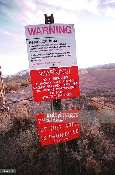 Warning sign marks the boundary of Area 51, March 12, 2000 in Rachel, Nevada. This sleepy Nevada town is located just a stone's throw from the secret...