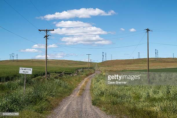 Warning sign on a rural gravel road