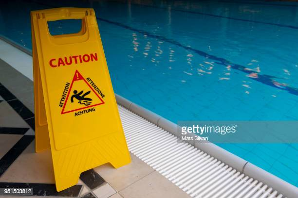 Warning Sign on the Poolside