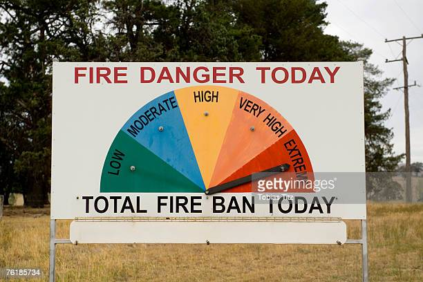 warning sign - bushfires stock photos and pictures