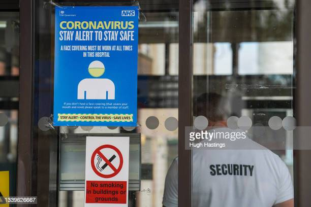 Warning signs are seen at the Royal Cornwall Hospital on September 11, 2021 in Truro, England. The Royal Cornwall Hospital Trust has temporarily...