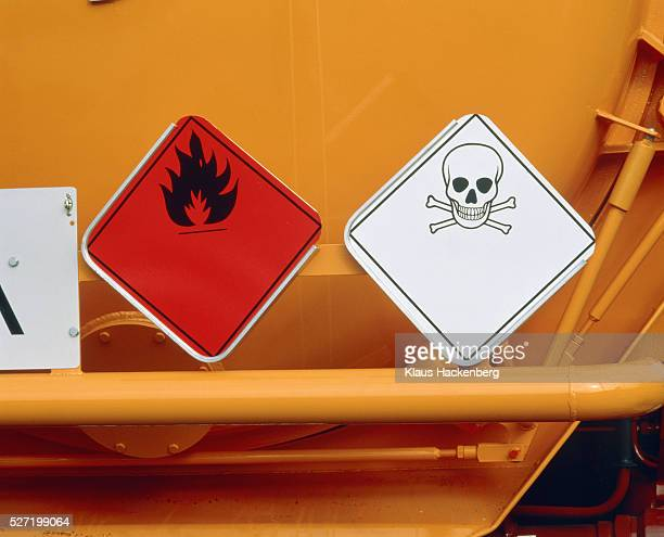 Warning signs for poison and inflammable material