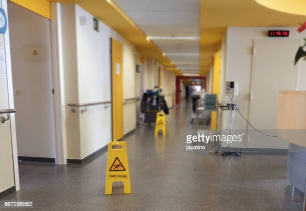 Warning signs of possible slippage during scrubbing of hospital floors