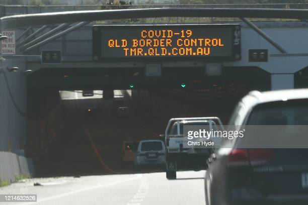 Warning signs on the M1 Motorway at the Queensland Border on March 25 2020 in Gold Coast Australia Queensland Premier Annastacia Palaszczuk has...