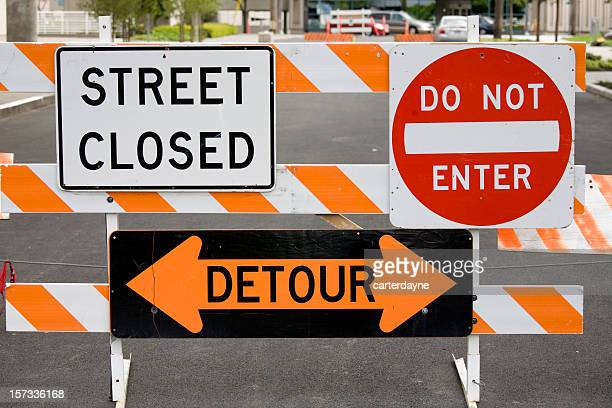 Warning signs street closed detour do not enter