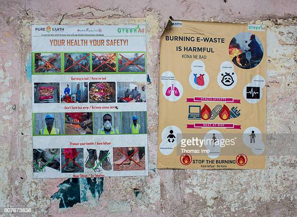 Warning signs to warn of health risks on the largest electronic scrap yard in Agbogbloshie a district in Ghana's capital on September 09 2016 in...