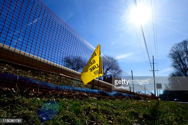 Warning sings mark the presence of a natural gas liquids pipeline in West Chester PA on March 13 2019 The 350mile crossstate Mariner East pipeline...