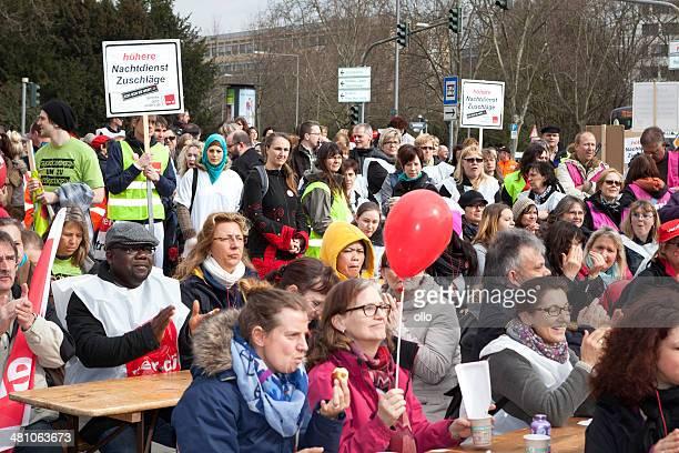 Warning strike and demonstration of german trade union verdi, Wi