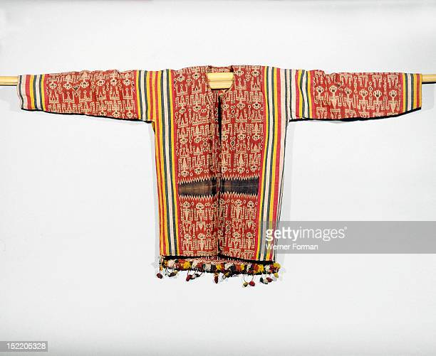 Warp ikat decorated jacket worn by Iban people at ritual ceremonies called gawai connected with agriculture warfare and the commemoration of the dead...