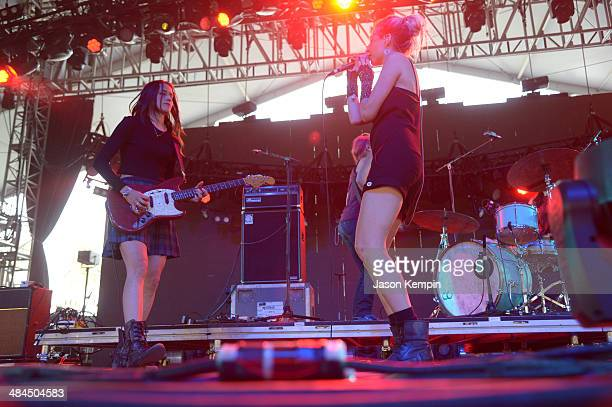 Warpaint performs onstage during day 2 of the 2014 Coachella Valley Music Arts Festival at the Empire Polo Club on April 12 2014 in Indio California