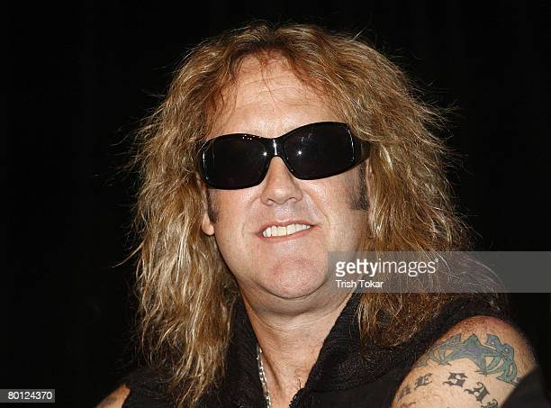 Warrant lead singer Jaime St. James attends the official line up announcement ceremony for Rocklahoma 2008 at the Whiskey a Go Go on March 4, 2008 in...
