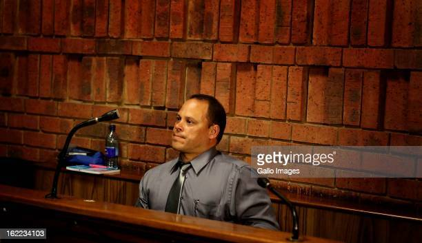Warrant officer Hilton Botha at the Pretoria magistrate's court on February 20 in Pretoria, South Africa. Oscar Pistorius is accused of murdering his...