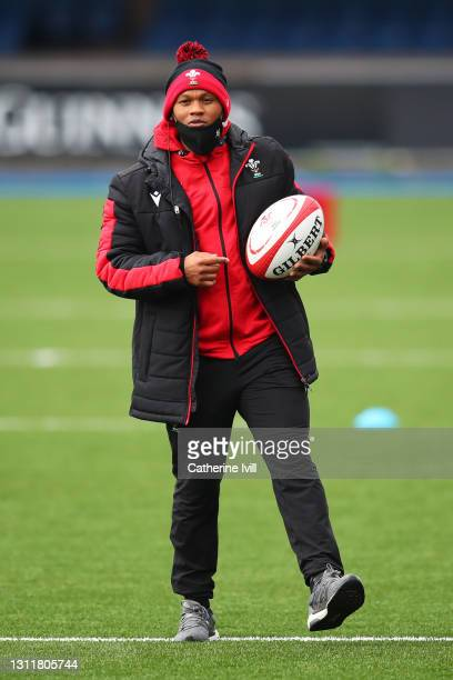 Warren Abrahams, Head coach of Wales looks on prior to the Women's Six Nations match between Wales and Ireland at Cardiff Arms Park on April 10, 2021...