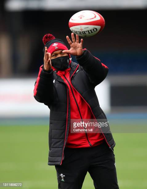 Warren Abrahams head coach of Wales prior to the Women's Six Nations match between Wales and Ireland at Cardiff Arms Park on April 10, 2021 in...