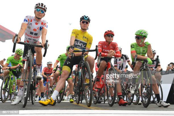 Warren BARGUIL Christopher FROOME Alberto CONTADOR Rigoberto URAN at the start to the 1st TDF Shanghai Criterium 2017 On Sunday 29 October 2017 in...