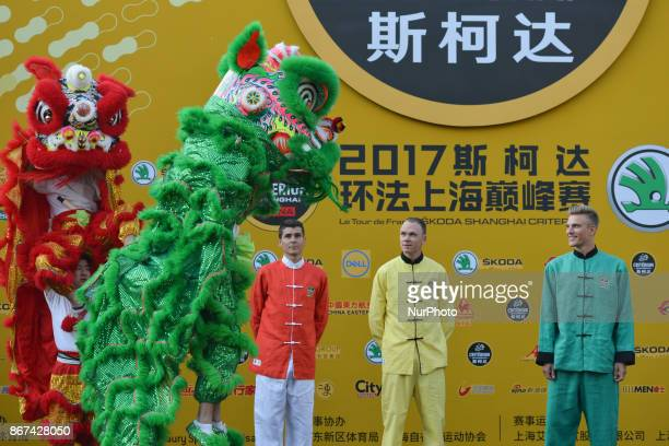 Warren Barguil Christopher FROOME and Marcel KITTEL during Lion Dance performance at the 1st TDF Shanghai Criterium 2017 Media Day On Saturday 28...