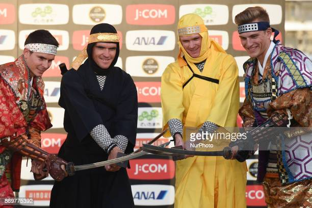 Warren BARGUIL Greg VAN AVERMAET Christopher FROOME and Marcel KITTEL at the end of Samurai vs Ninja combat demonstration at the 5th edition of TDF...