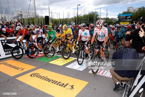 Warren Barguil of France and Team Arkéa Samsic, Edward Theuns of Belgium and Team Trek - Segafredo Most Combative Rider, Julian Alaphilippe of France...
