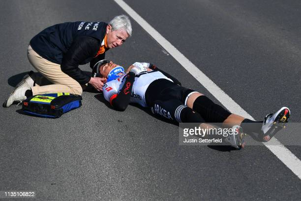 Warren Barguil of France and Team Arkea Samsic / Crash / Injury / Medical Problem / Doctor / during the 77th Paris Nice 2019 Stage 2 a 1635km race...