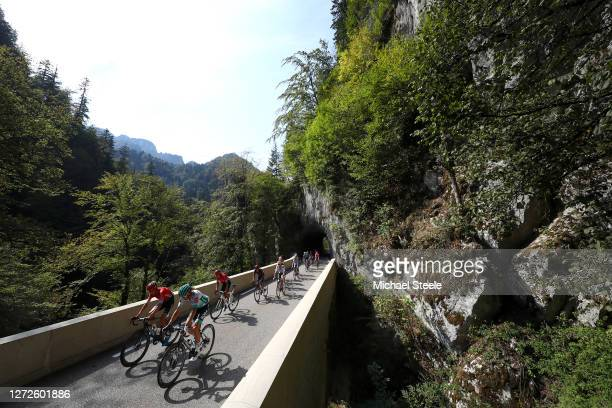Warren Barguil of France and Team Arkea - Samsic / Daniel Oss of Italy and Team Bora - Hansgrohe / Winner Andrew Anacona of Colombia and Team Arkea -...