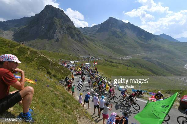 Warren Barguil of France and Team ArkeaSamsic / Julian Alaphilippe of France and Team Deceuninck QuickStep Yellow Leader Jersey / Jakob Fuglsang of...