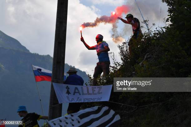 Warren Barguil of France and Team Fortuneo Samsic / Col De La Colombière / Fans / Public / Flare / Silhouet / during the 105th Tour de France 2018 /...