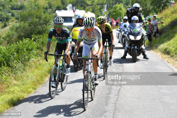 Warren Barguil of France and Team Fortuneo Samsic / Rafal Majka of Poland and Team Bora Hansgrohe / Mikel Nieve of Spain and Team MitcheltonScott /...