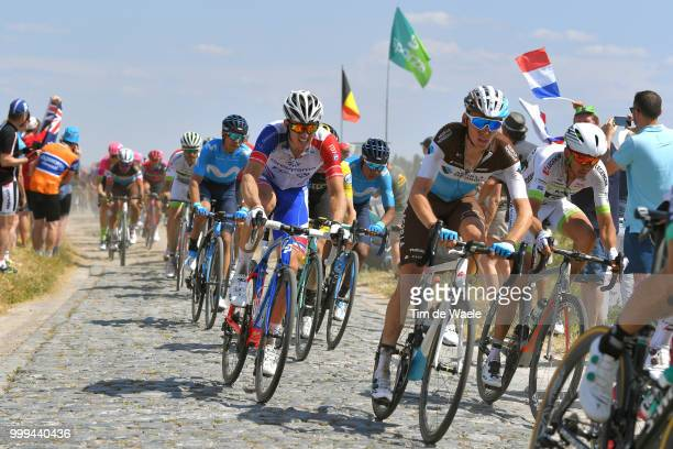 Warren Barguil of France and Team Fortuneo Samsic / Romain Bardet of France and Team AG2R La Mondiale / Arnaud Demare of France and Team Groupama FDJ...