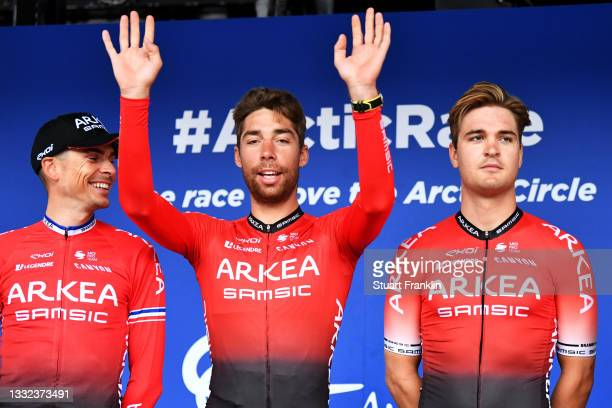 Warren Barguil of France, Clement Russo of France & Bram Welten of Netherlands and Team Arkéa - Samsic during the 8th Arctic Race Of Norway 2021 -...