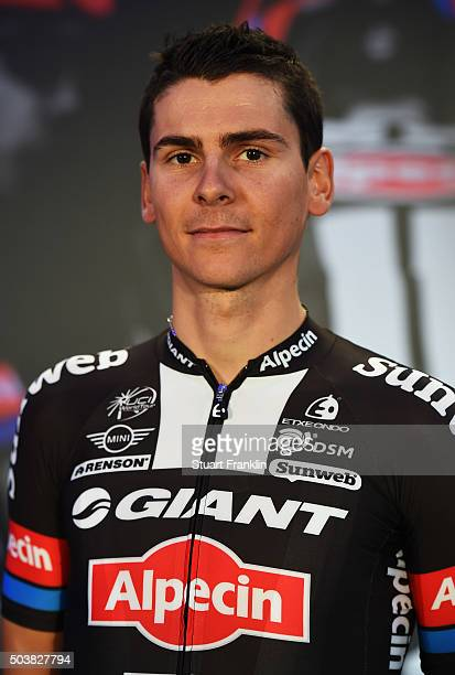 Warren Barguil of France poses for a picture at the presentation of team GIANTAlpecin at the Italian embassy on January 7 2016 in Berlin Germany