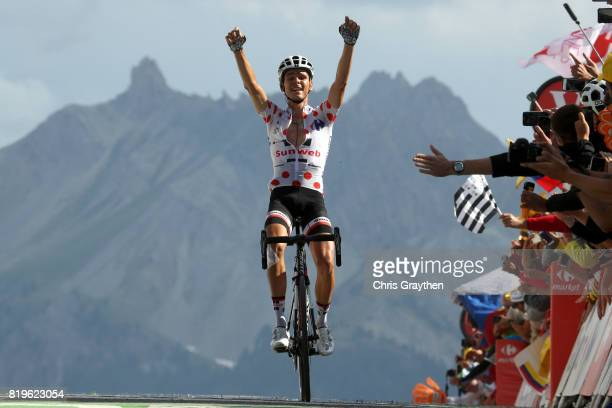 Warren Barguil of France riding for Team Sunweb celebrates as he wins stage 18 of the 2017 Le Tour de France a 1795km stage from Briançon to Izoard...