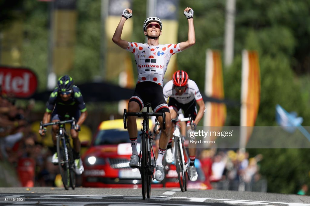 Warren Barguil of France riding for Team Sunweb celebrates crossing the line in 1st place during stage 13 of the Le Tour de France 2017, a 101km stage from Saint-Girons to Foix on July 14, 2017 in Foix, France.