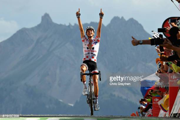 Warren Barguil of France riding for Team Sunweb crosses the line to take the stage win on stage eighteen of the 2017 Tour de France a 1795km stage...