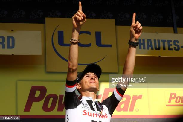 Warren Barguil of France riding for Team Sunweb in poses for a photo on the podium after winning stage 18 of the 2017 Le Tour de France a 1795km...