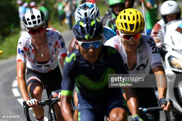 Warren Barguil of France riding for Team Sunweb in the king of the mountains jersey and Nairo Quintana of Colombia riding for Movistar Team ride in a...