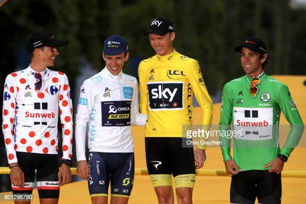 Warren Barguil of France riding for Team Sunweb in the king of the mountains jersey Simon Yates of Great Britain riding for Orica Scott in the best...