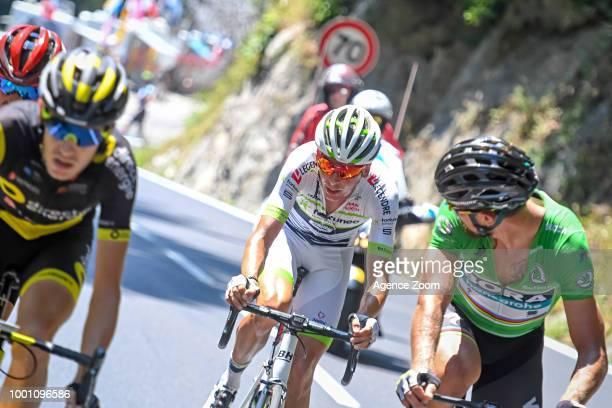 Warren Barguil of team FORTUNEOSAMSIC Peter Sagan of team BORA during the stage 11 of the Tour de France 2018 on July 18 2018 in Albertville France