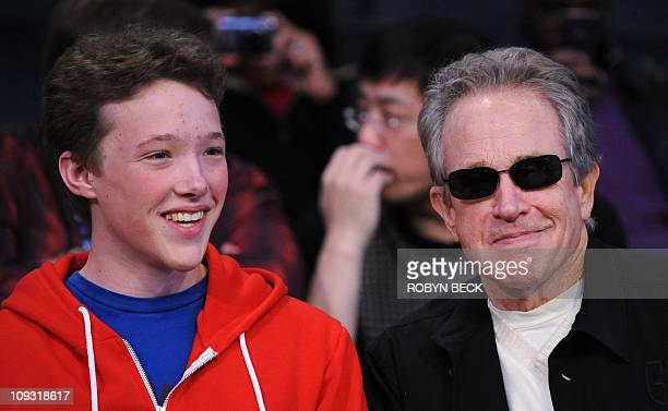 Warren Beatty and his son Benjamin attend the NBA AllStar Game February 20 part of NBA AllStar Weekend at Staples Center in Los Angeles California...