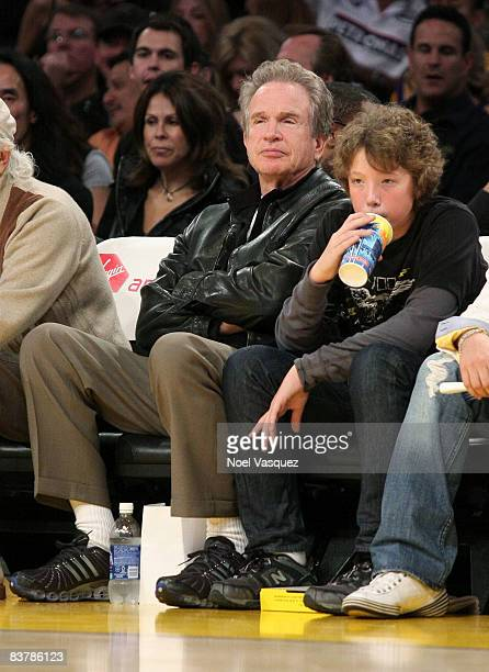 Warren Beatty and his son Benjamin Beatty attend the Los Angeles Lakers vs Denver Nuggets game at the Staples Center on November 21 2008 in Los...