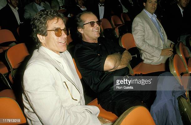 Warren Beatty and Jack Nicholson during Mike Tyson vs Michael Spinks Fight at Trump Plaza June 27 1988 at Trump Plaza in Atlantic City New Jersey...